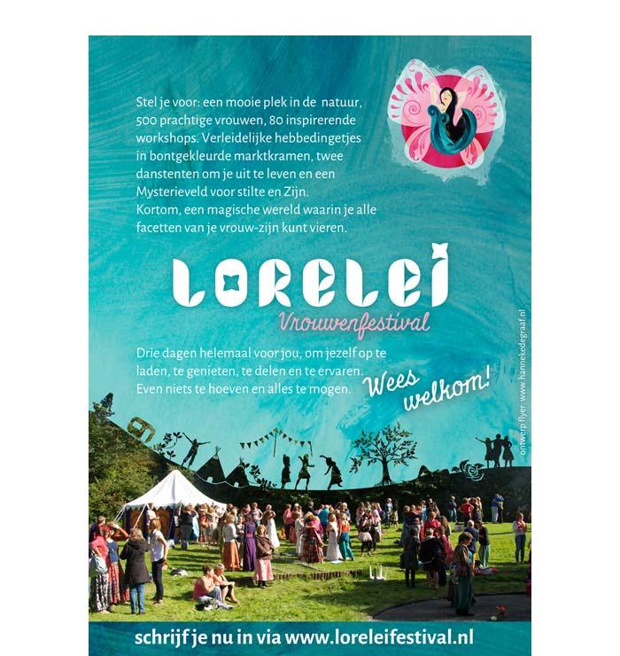 Ontwerp achterkant Flyer Lorelei Festival