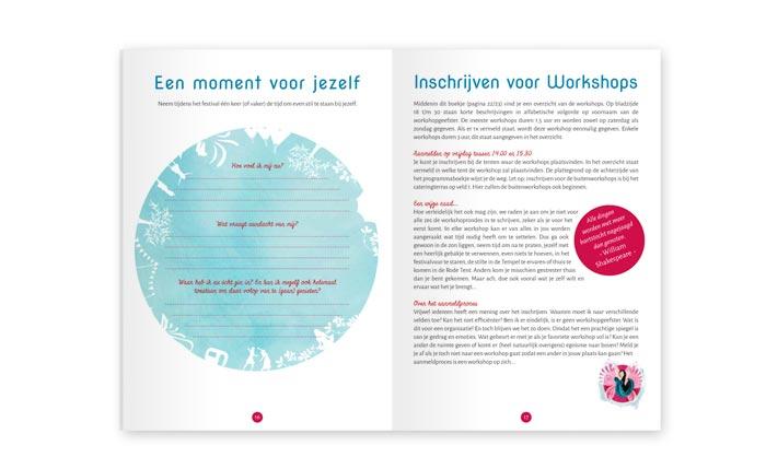 Ontwerp spread programmaboekje Lorelei Festival