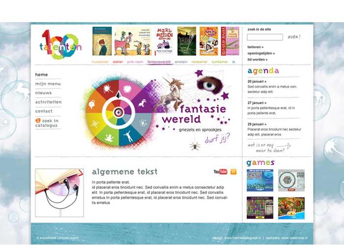 kleurrijk webdesign jeugdbibliotheek