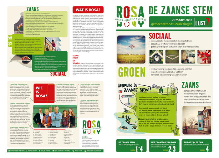 Folder Verkiezingen Rosa Zaanstad